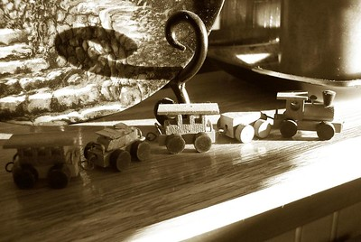 The little wooden train on the mantle