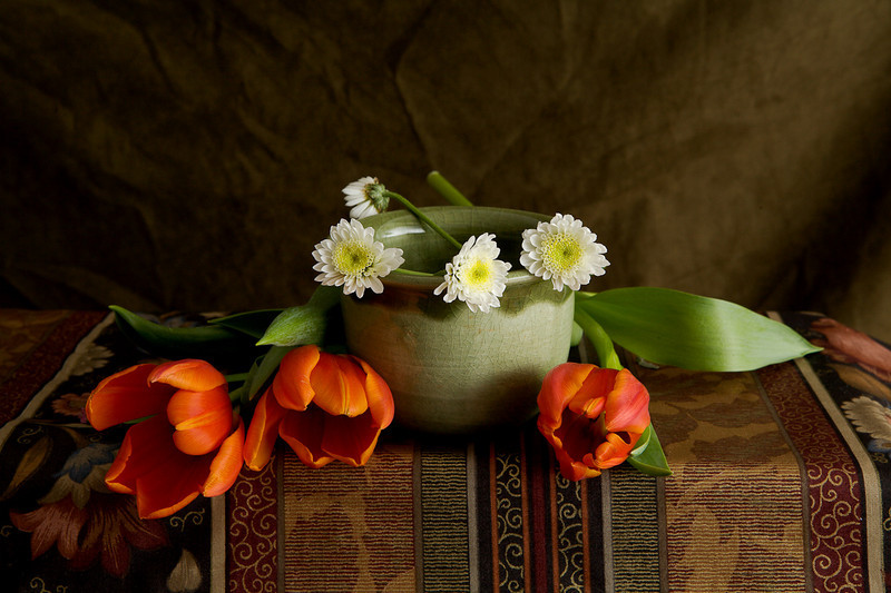 tulips and celadon bowl