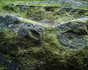 Prehistoric rock carving, Routin Lin, Northumberland UK