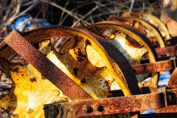 Wheel in - This is the wheels of an old seeder. As usual, I must have passed by a million times, the right side of my brain was slow to respond! Have a great day - JY