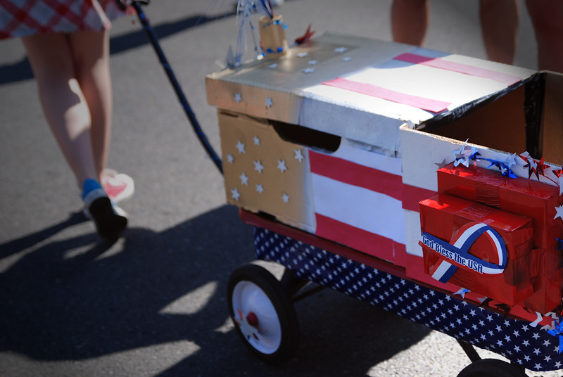 Good Bless The USA<br /> Decorated wagon for a neighborhood 4th of July parade in Sherwood, Oregon