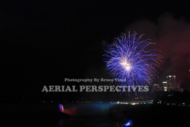 Fireworks display over Niagara Falls