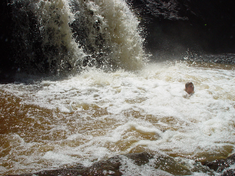 Swimming in the Upper Falls in Amnicon Falls State Park, WI.
