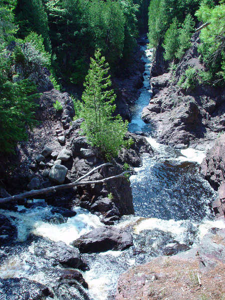 This is the top of Brownstone Falls in Copper Falls State Park, WI.