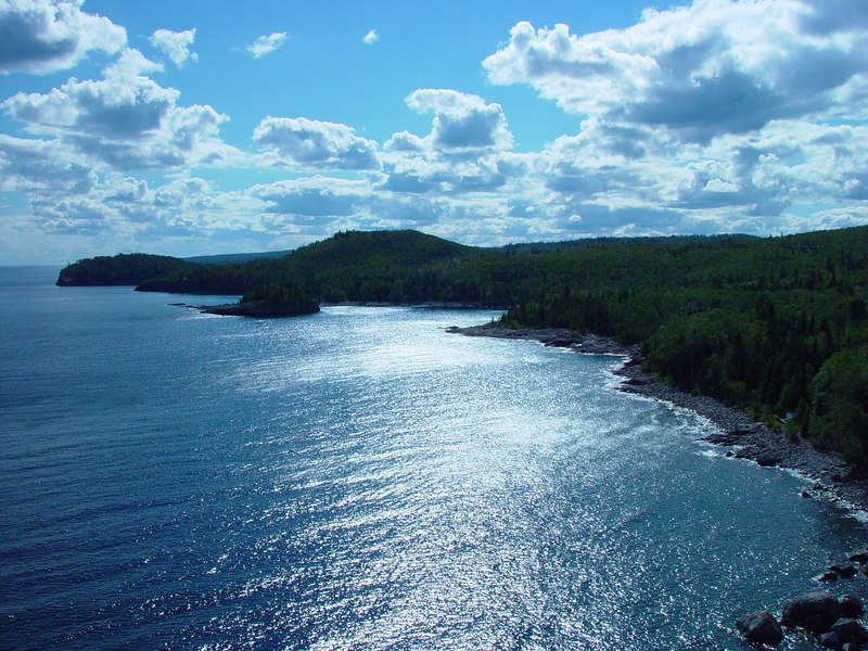 View from up top of Split Rock Lighthouse, in the State Park of the same name in MN.