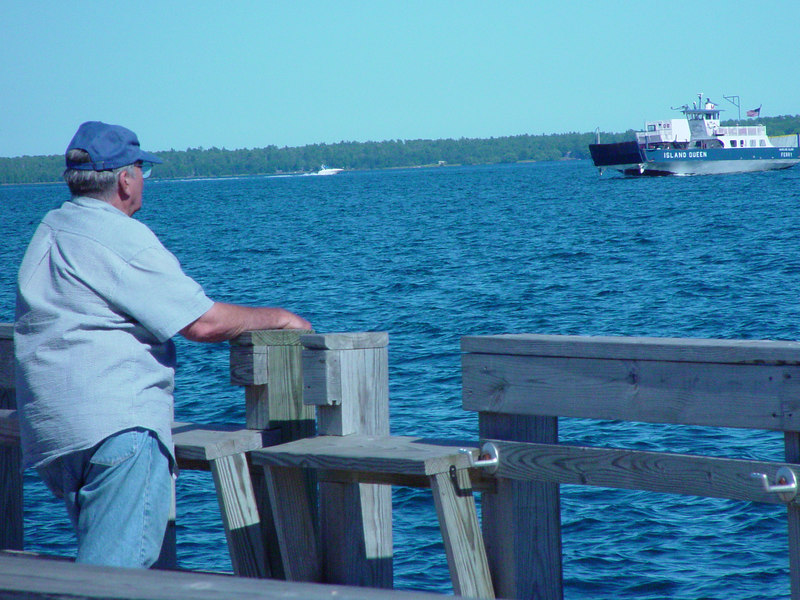 Watching the ferry going to Madeline Island.  Part of the Apostle Island National Lakeshore in Bayfield, WI.