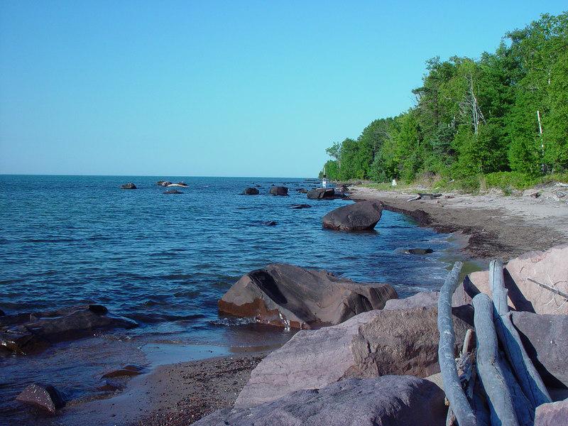 Coastal shot of Lake Superior in Michigan.