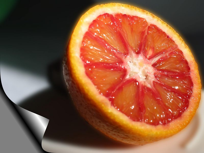Blood Orange half 3 [bg blurred, page curl effect]
