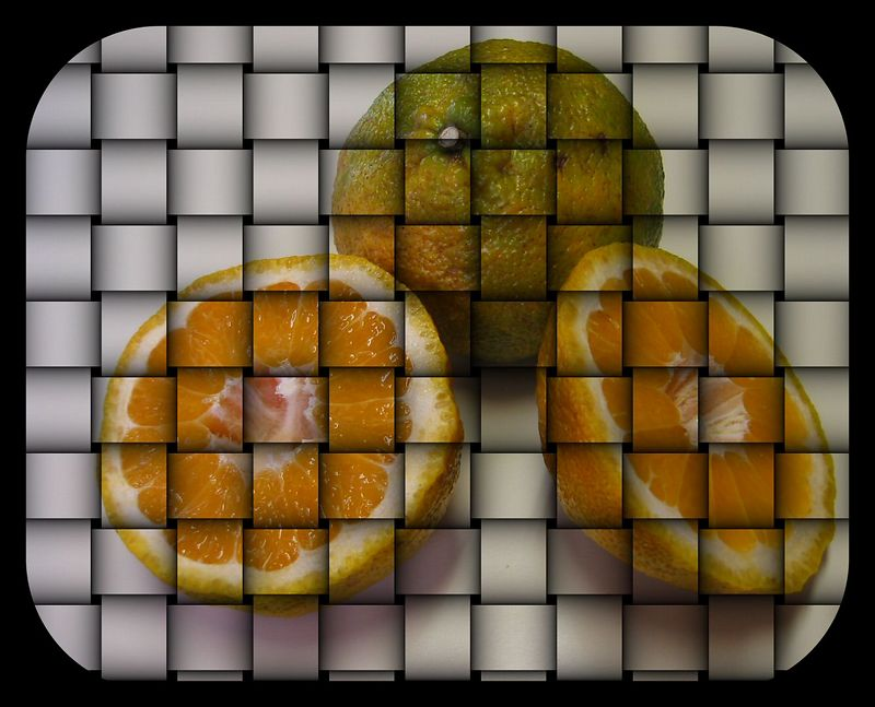 Ugli Fruit - 1 intact, 1 cut 2 [weave, rounded rectangle crop]