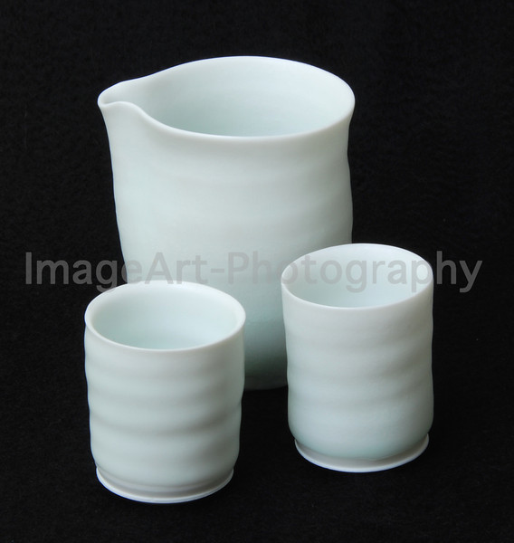Matt White Glazed Sake set