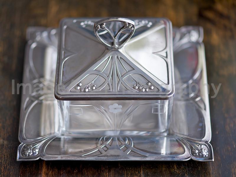 Art Nouveau silver butter dish