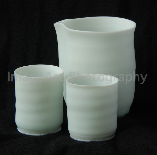 Matt White Glazed Sake set