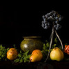 Tripod with grapes and pears