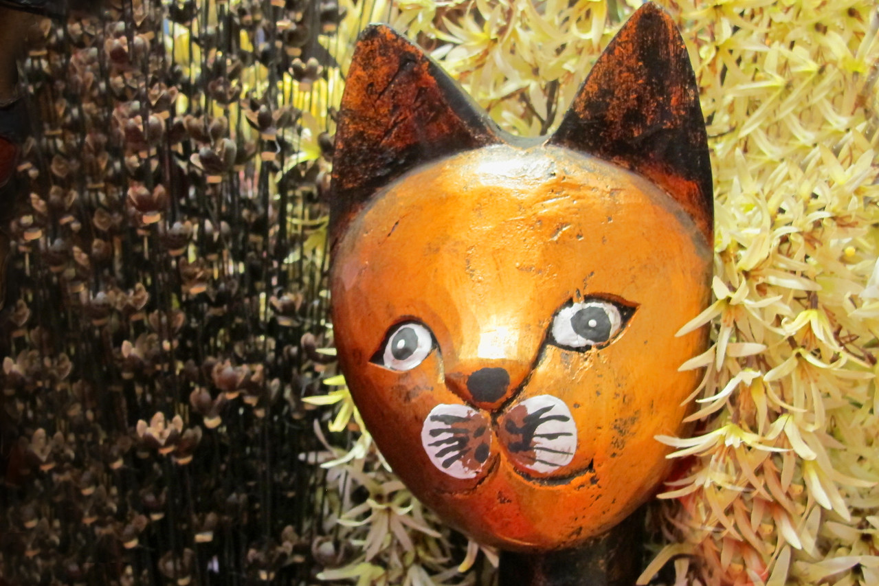 Cat Peeking ~ This whimsical cat was part of an exhibit at Pier 1 Imports.