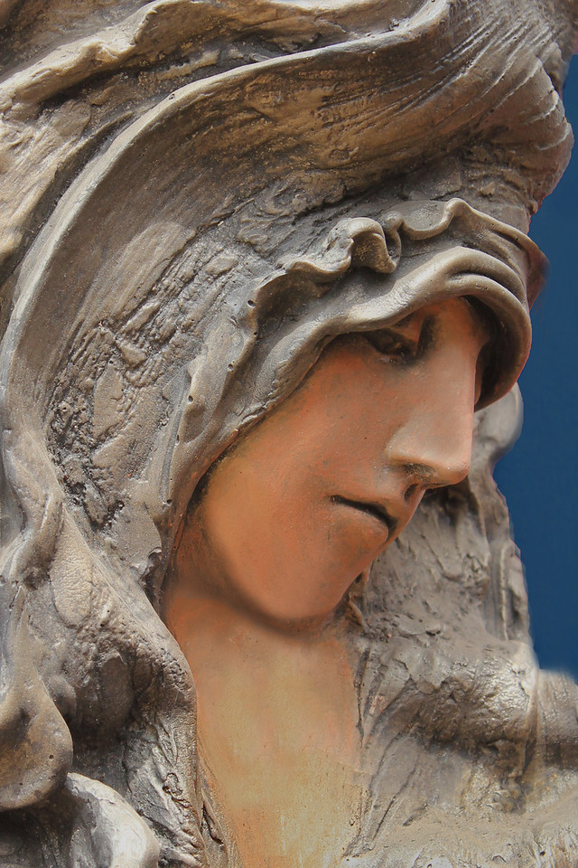 Face of Clay 3 ~  I ran across these beautiful sculptural pieces, all depicting women. I loved the emotional expressions shown. These are close-ups of the artwork in clay. In my opinion, the artist is truly gifted, and I was so glad to find these great women.