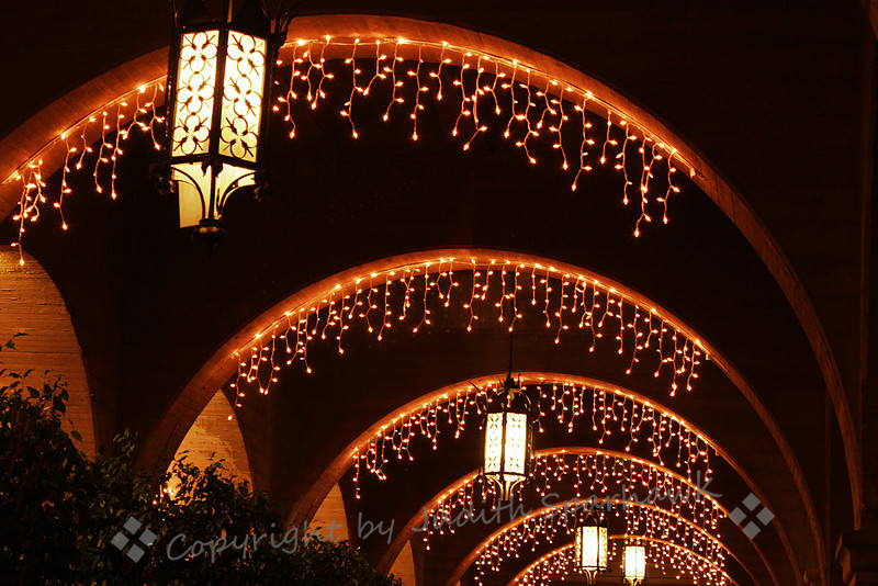 Arches at the Mission Inn ~ The famous and historic Mission Inn in Riverside, California, is always elaborately decorated for the holidays.  I went on a fun outing the other night to photograph it.  This one was one of my favorites, showing the lights on repetitive archways over the sidewalk.