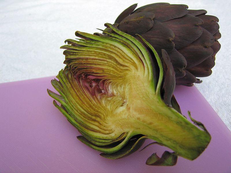 Half and full Purple Artichoke