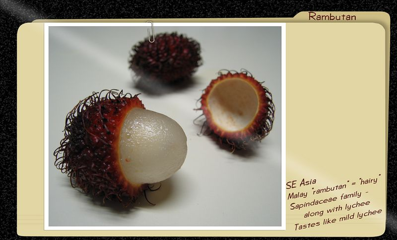 Rambutan - one split with fruit inside, one intact in bg [x-file frame, text]