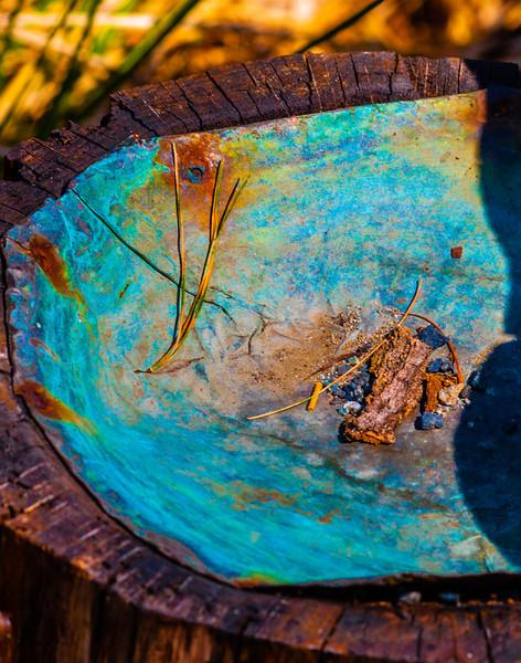 Copper birdbath