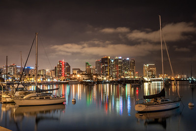 A long exposure night scape of downtown San Diego through the harbor. August 2012