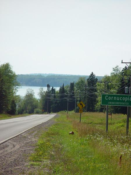 Hwy 13 leading to Cornucopia, WI's lakeshore.