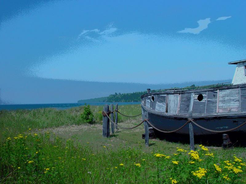 Old fishing boat on the Cornucopia beachfront.
