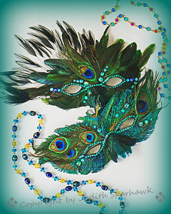Mardi Gras Masks ~ In honor of the upcoming Mardi Gras holiday, I composed two still life photos.  First I had to make the masks, then gather up the beads, and decide how to arrange them.  The masks turned out very sparkly and beautiful.  Enjoy...