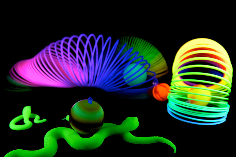 Still Life 9/12, toys under black light