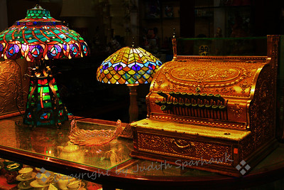 The Antique Shop ~ I liked the ornate cash registers displayed, with stained glass lamps and other items.