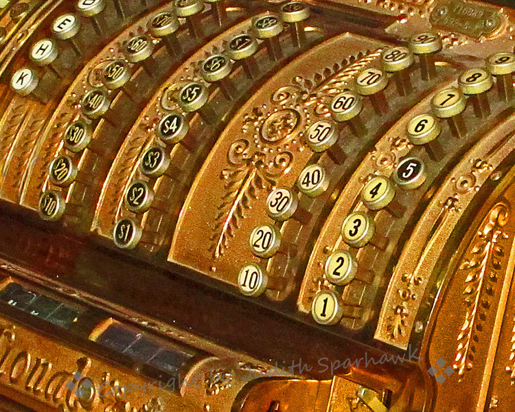 One, Two, Three...~ Close-up of the numbers on a beautiful old ornate cash register at the local antique mall.