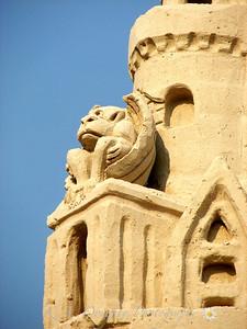Gargoyle on world record-holding sand castle, Point Sebago, ME