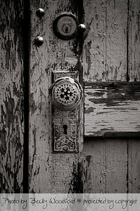 Old door in black and white