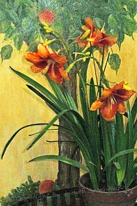 Lilies on Display ~ Browsing in the local antique mall, I enjoyed finding small vignettes to photograph.  This one combined real lilies placed in front of a painted floral scene.