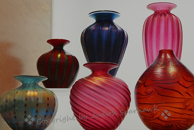 Art Glass at The Getty ~ A visit to The Getty isn't complete without a peek into the gift shop.  Even if you don't want to buy anything, the displays are interesting and sometimes beautiful.  These glass vases were such a display.  I like the shapes, colors and textures.