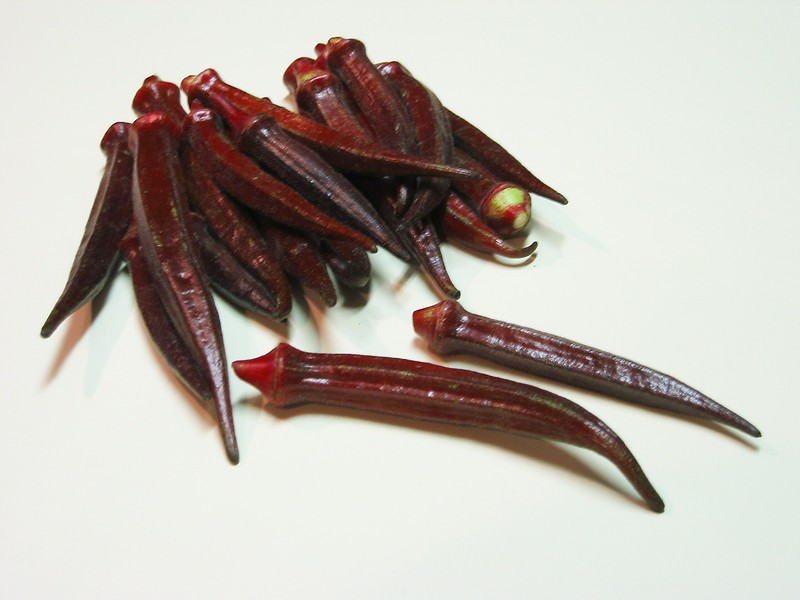 Burgundy okra 4 - many spears