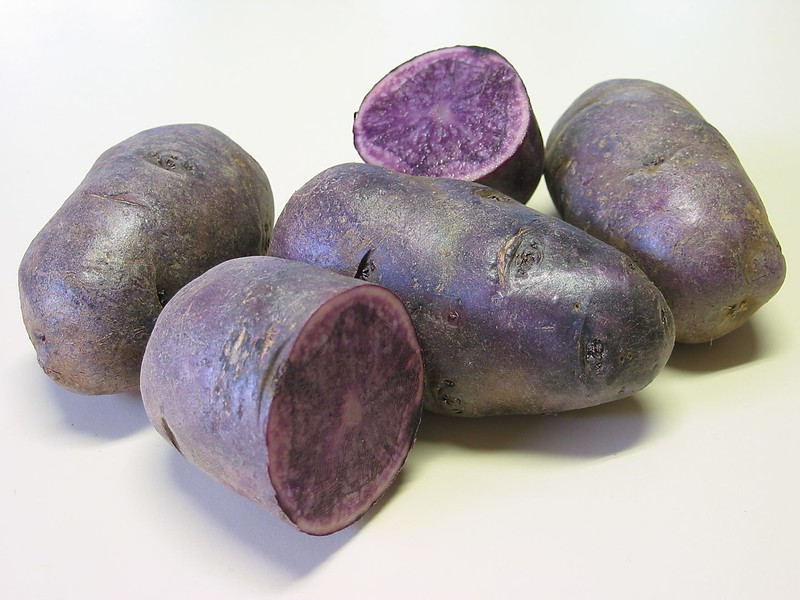 Purple potatoes with one cut in half