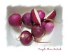 Purple Plum Radish - six in white bowl with a seventh halved [edgefade04 frame, text]