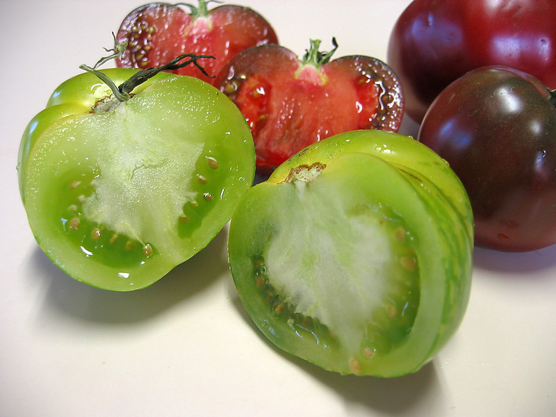 Heirloom tomato - halved Green Zebra and (2 intact) Cherokee Purple 2