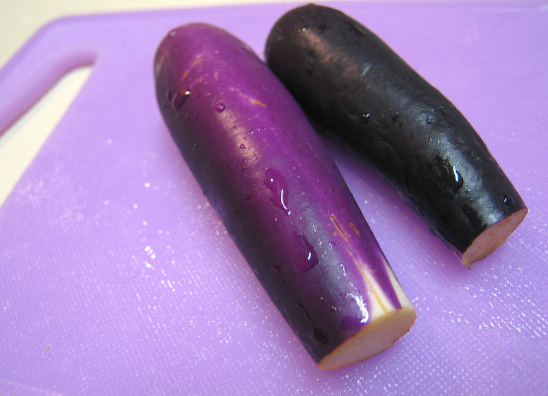 Purple Eggplants on Purple Cutting Board