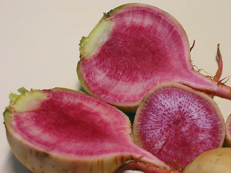 Watermelon Radish half and cross-section cl