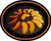 Peach slices being grilled [oval frame, borders]