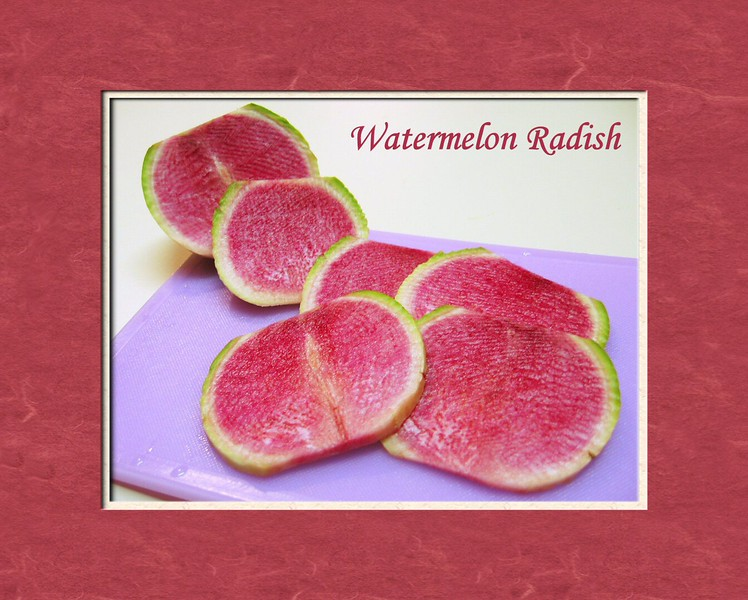 00aFavorite Watermelon Radish slices on pinkish purple cutting board [text, 2 mattes]