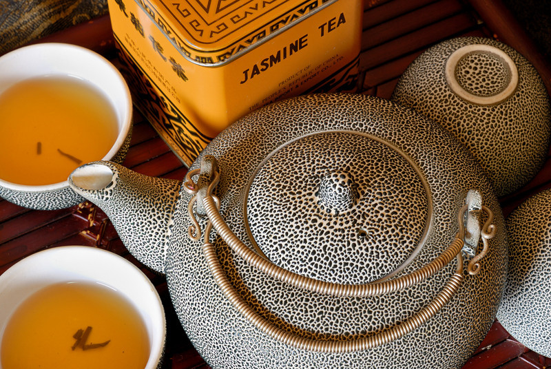 Jasmine Tea:<br /> <br /> A Vietnamese tea set with a nubby glaze that is quite tactile.