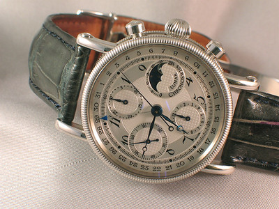 The Chronoswiss Lunar chronograph with a beautiful silver guilloche dial