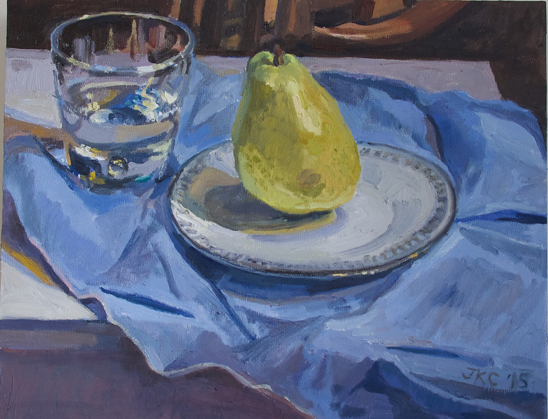 Glass of Water and Pear