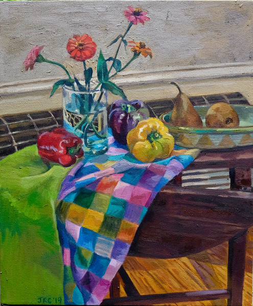 Zinnias, Peppers and Pears