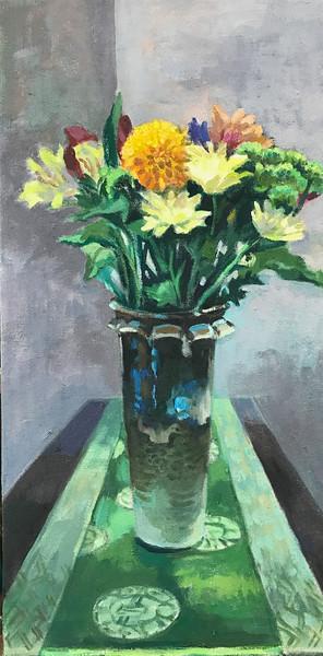 Flowers on Green Mat