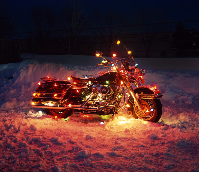Harley Davidson in Christmas lights.  Copyright - W. Keith Baum | PhotoCanal.com
