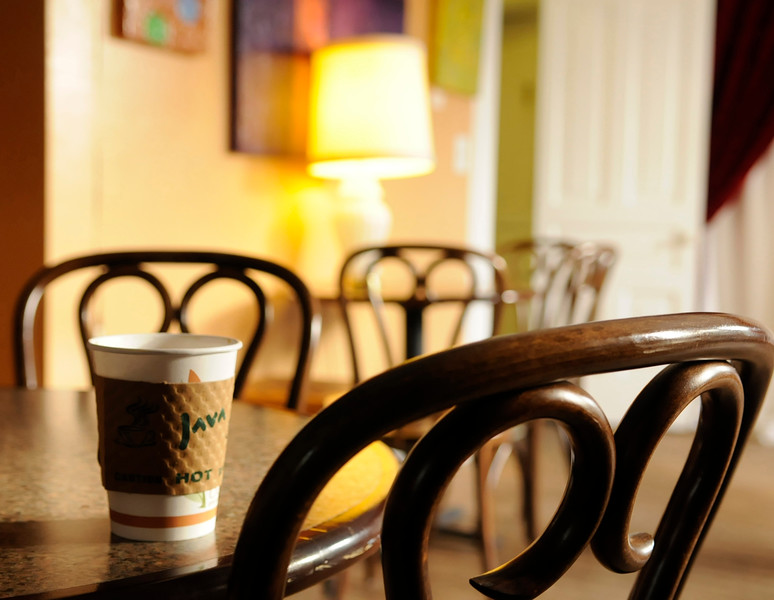 Coffee and chairs conversation spot in a coffee shop.  Copyright - W. Keith Baum   PhotoCanal.com