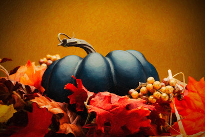 Blue Pumpkin and Autumn Foliage